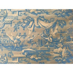 France 18th Century Wallpaper  with Landscape Scenes in Turquoise Color
