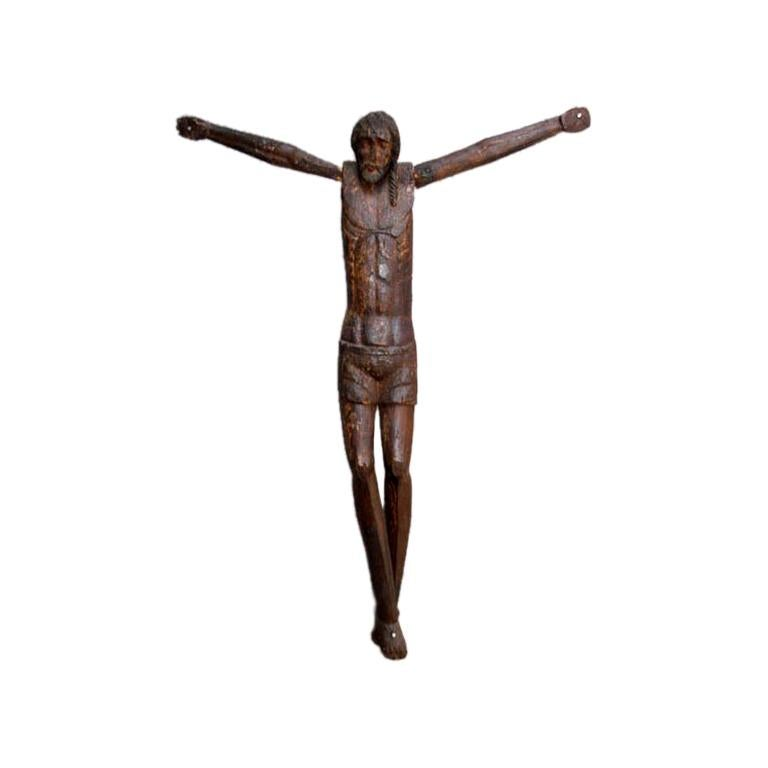 18th Century Antique Large Scale Primitive Wooden Crucifix For Sale