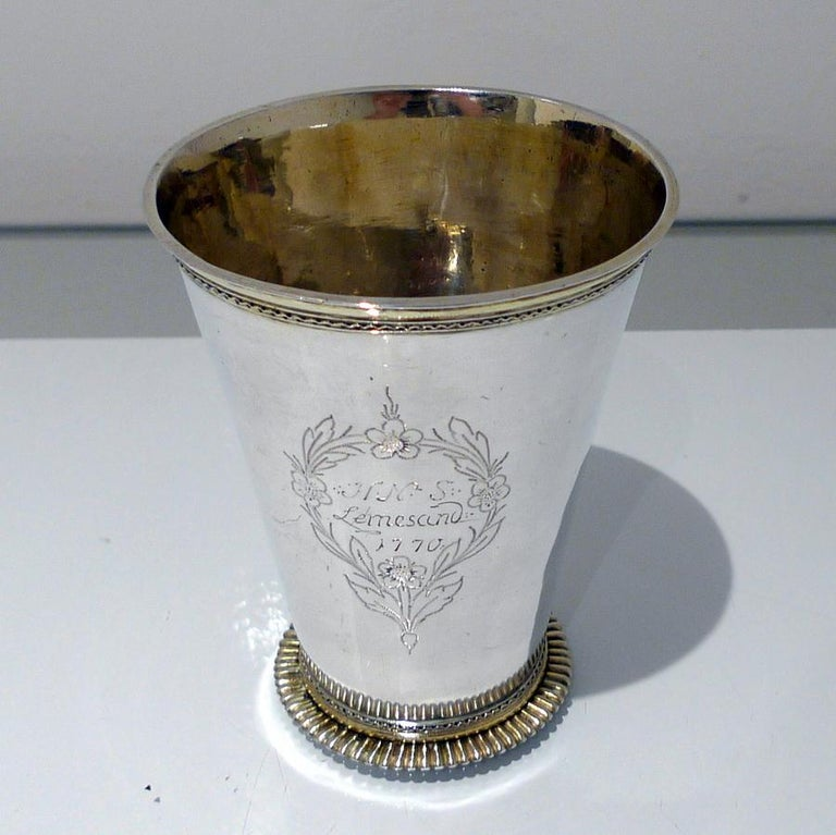 Late 18th Century 18th Century Antique Large Silver Beaker Probably Baltic circa 1770 'Maker FR' For Sale