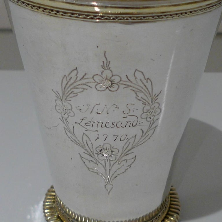 18th Century Antique Large Silver Beaker Probably Baltic circa 1770 'Maker FR' For Sale 1