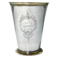 18th Century Antique Large Silver Beaker Probably Baltic circa 1770 'Maker FR'