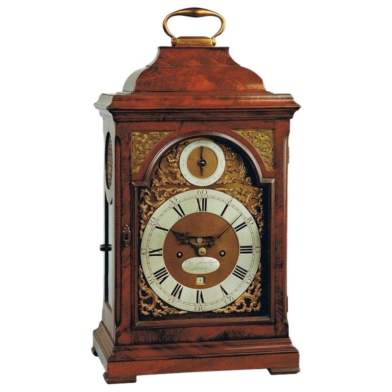 18th Century Antique Mahogany Bracket Clock by Charles Blanchard of London