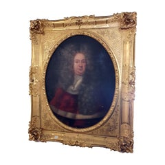 18th Century Antique Oil Painting on Canvas, Golden Frame, Depicting Louis XIV