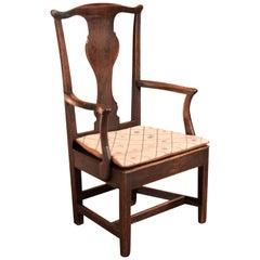18th Century Antique Open Armchair, Late Georgian Oak