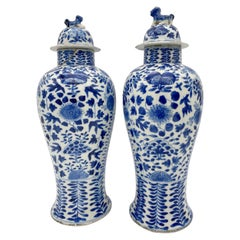 18th Century Antique Pair of Chinese Blue and White Porcelain Jars and Covers