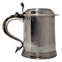 18th Century Antique Queen Anne Britannia Silver Lidded Tankard Exeter, 1707
