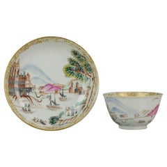 18th Century Antique Rare Cup Saucer Chine De Commande, Western Subjects Meissen