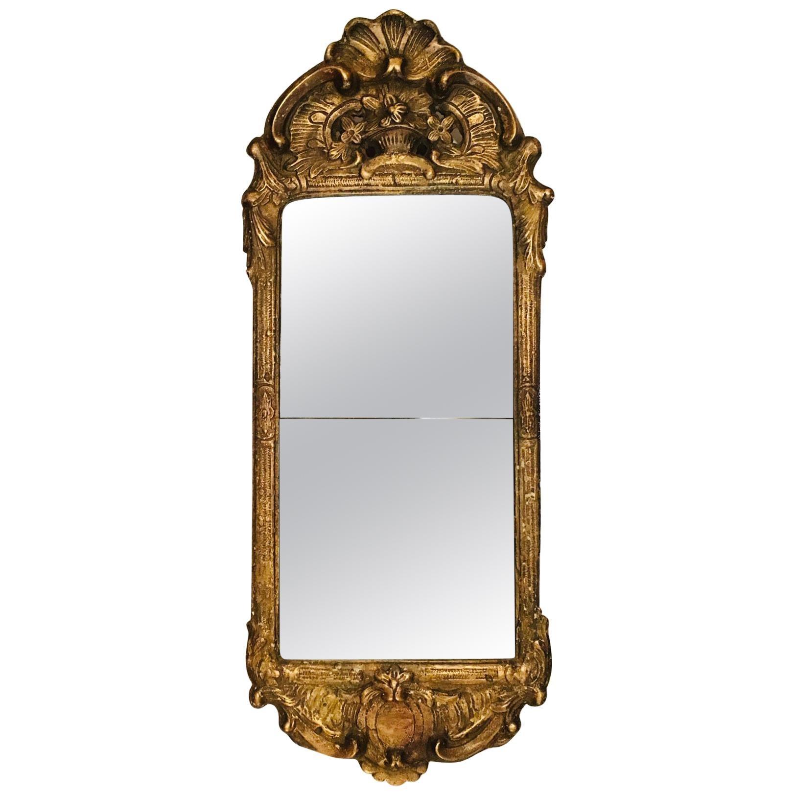 18th Century Antique Swedish Rococo Giltwood and Gesso Mirror, circa 1750