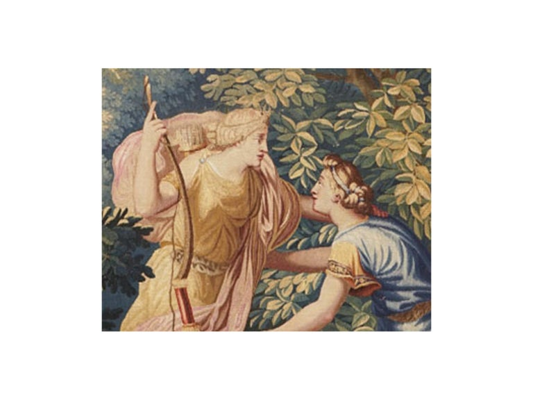 Title: Diana and Endymion Brussels, 18th century Dimensions: 300 x 200 cm  Brussels tapestry of the end of seventeenth century.  It represents the goddess Diana recognizable to his bow and crown adorned with a moon. Huntress finds her lover