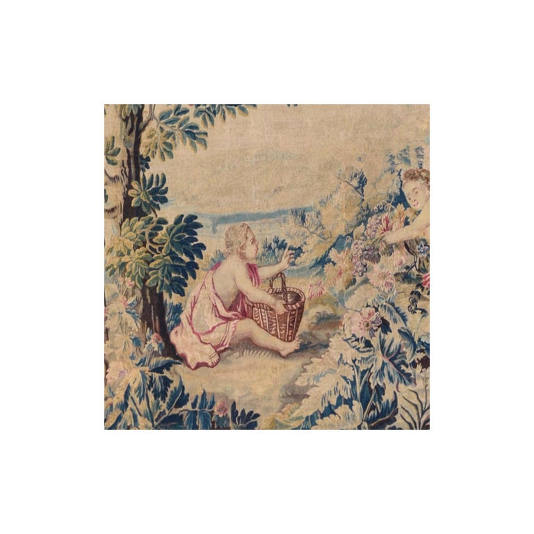 Hand-Woven 18th Century antique tapestry from Lille, France, flower garden For Sale