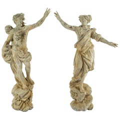 18th Century Apollo and Daphne Carved Wood Statuary