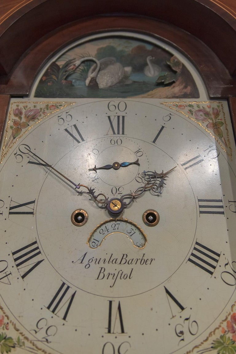 A beautiful 8 day arched rocking swan automata Grandfather clock.