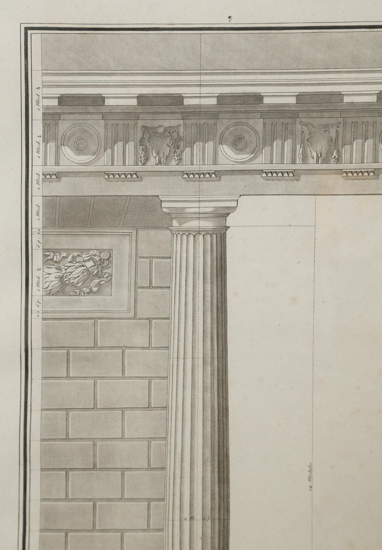 Framed 18th century architectural engraving by Jean Charles Delafosse (1734-1789). Delafosse fashioned himself as an architect and professor of design. This image was engraved by Jean Baptiste Lucien (1748-1806) and published by; Jacques-François