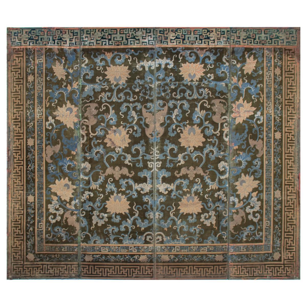 18th Century Chinese Voided Silk Velvet Folding Screen from England