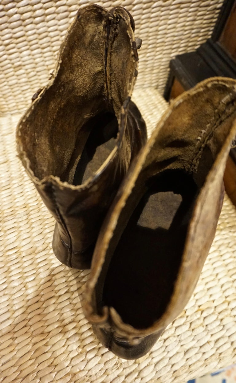 18th Century Asian Voyager's Leather Snow Boots with Metal Studs Objet d'art For Sale 4