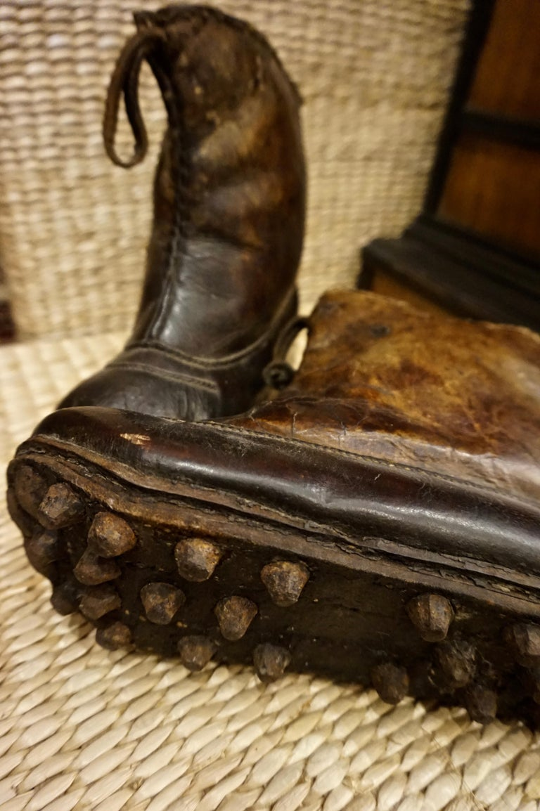 South Asian 18th Century Asian Voyager's Leather Snow Boots with Metal Studs Objet d'art For Sale