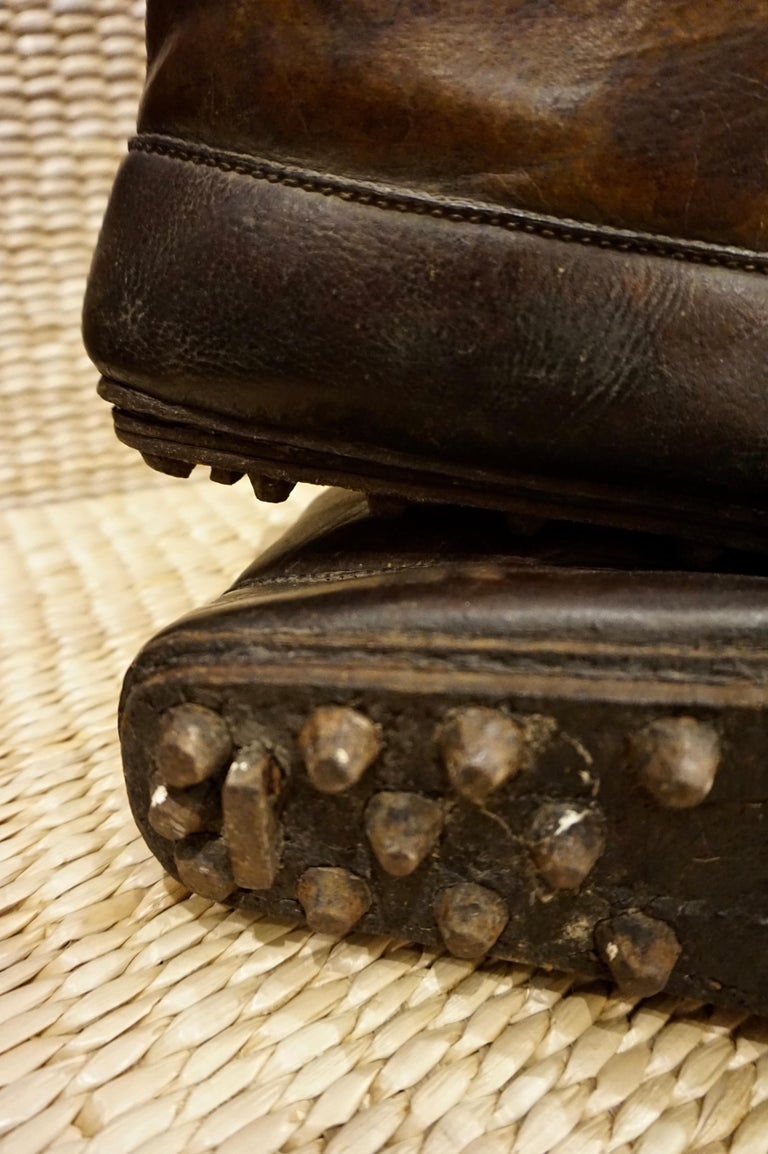 18th Century Asian Voyager's Leather Snow Boots with Metal Studs Objet d'art For Sale 2