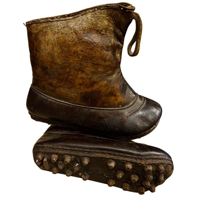 18th Century Asian Voyager's Leather Snow Boots with Metal Studs Objet d'art For Sale