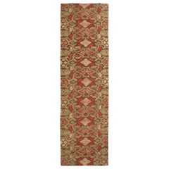 18th Century Aubusson Style Inspired Design Beige and Brown Wool Runner