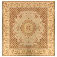 18th Century Aubusson Style Kilim Beige Brown Medallion Style Rug