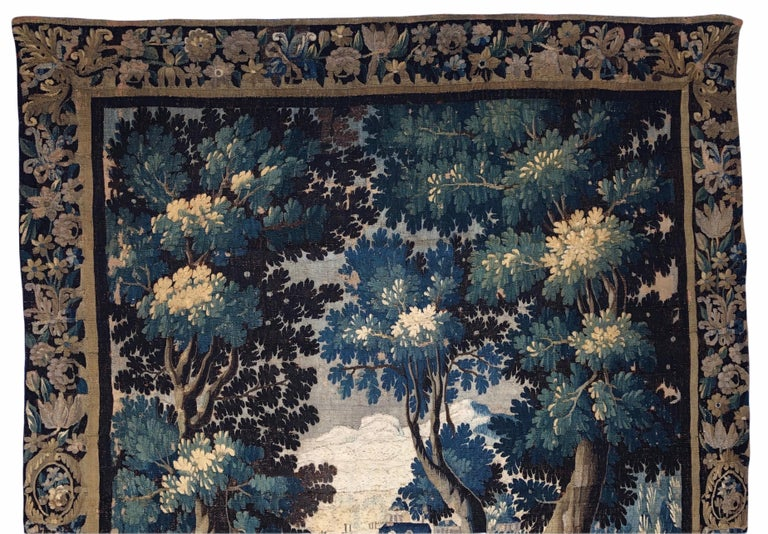 French 18th Century Aubusson Verdure Landscape Tapestry For Sale