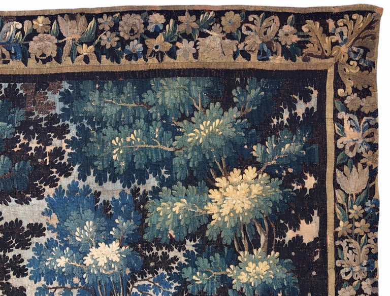 Hand-Knotted 18th Century Aubusson Verdure Landscape Tapestry For Sale