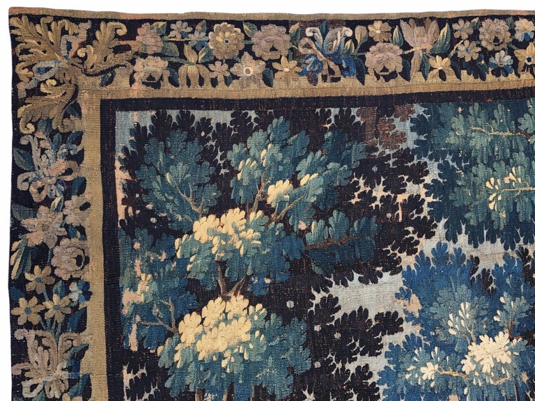 18th Century Aubusson Verdure Landscape Tapestry In Good Condition For Sale In Arles, FR