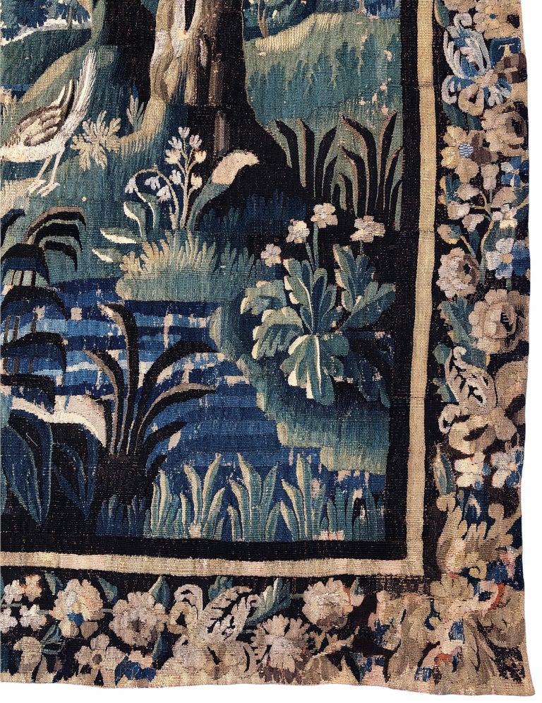 Textile 18th Century Aubusson Verdure Landscape Tapestry For Sale