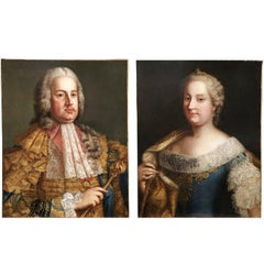 18th Century Austrian Pair of Portraits Depicting Maria Theresa and Francis I