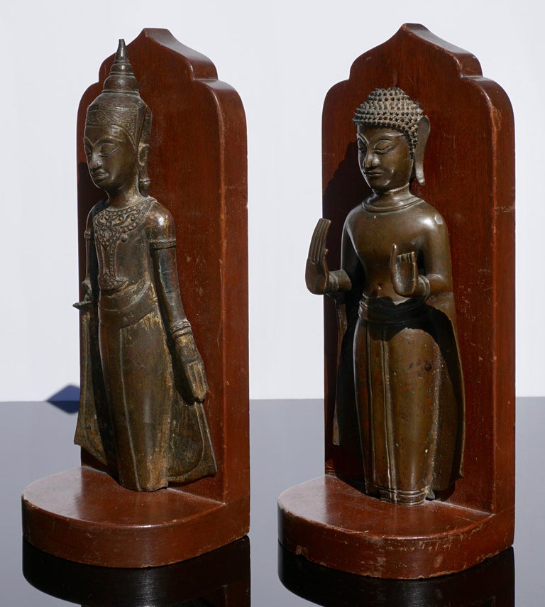 Edo 18th Century Ayutthaya Thai Bronze Buddha Bookends For Sale