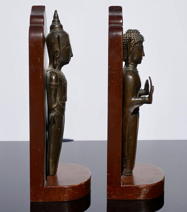18th Century Ayutthaya Thai Bronze Buddha Bookends In Fair Condition For Sale In Dallas, TX