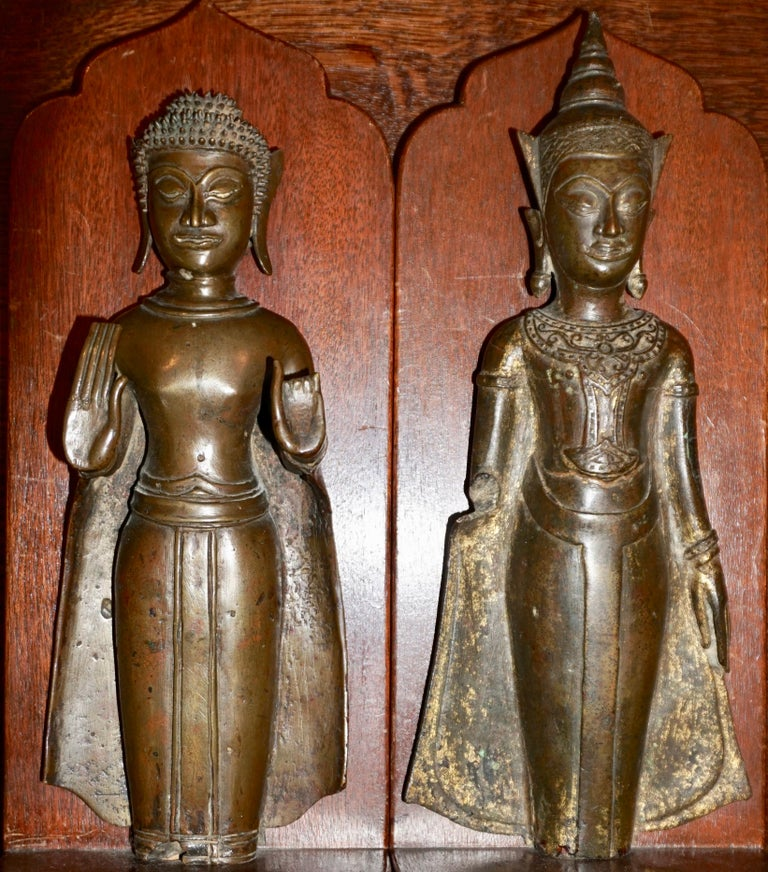 18th Century Ayutthaya Thai Bronze Buddha Bookends For Sale 3
