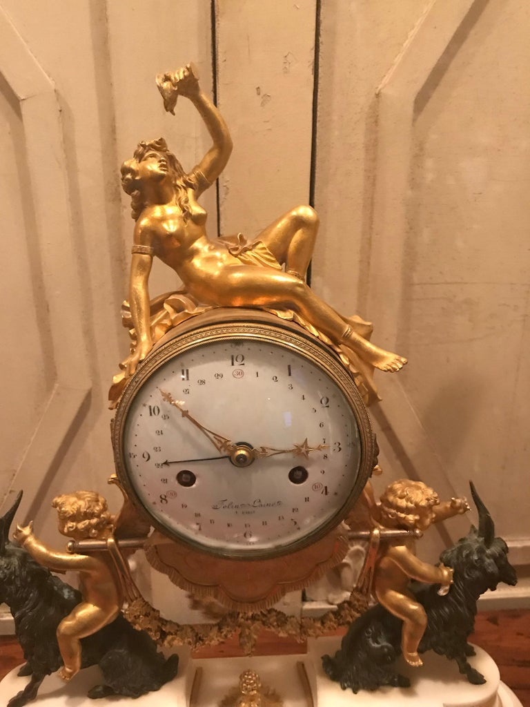 Louis XVI 18th Century Bacchante Bronze Dore' Mantel Clock For Sale