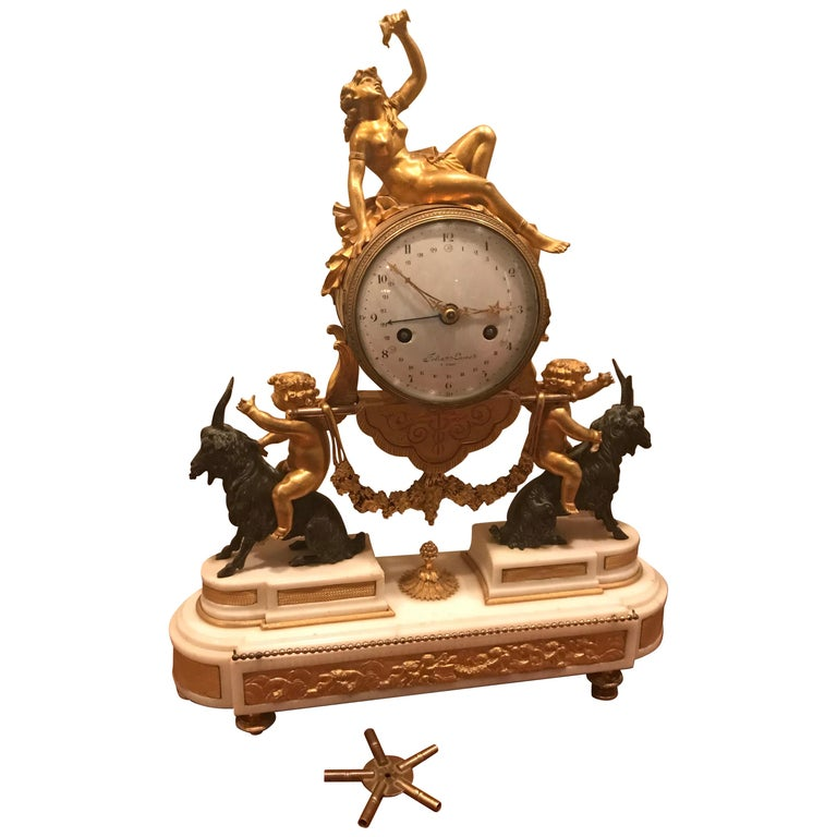 18th Century Bacchante Bronze Dore' Mantel Clock For Sale