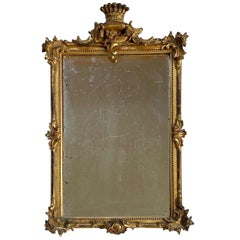 18th Century Baroque Carved and Gilded Looking Glass, circa 1740