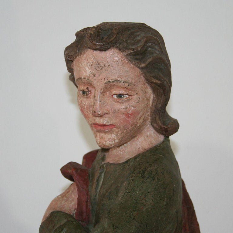 18th Century Baroque Carved Wooden Saint Figure For Sale 4