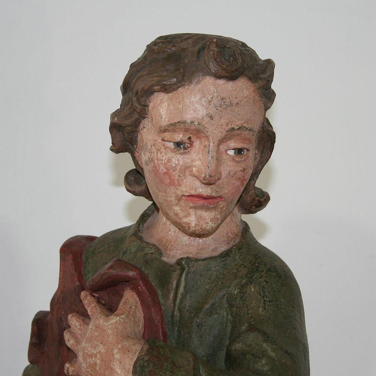 18th Century Baroque Carved Wooden Saint Figure For Sale 5