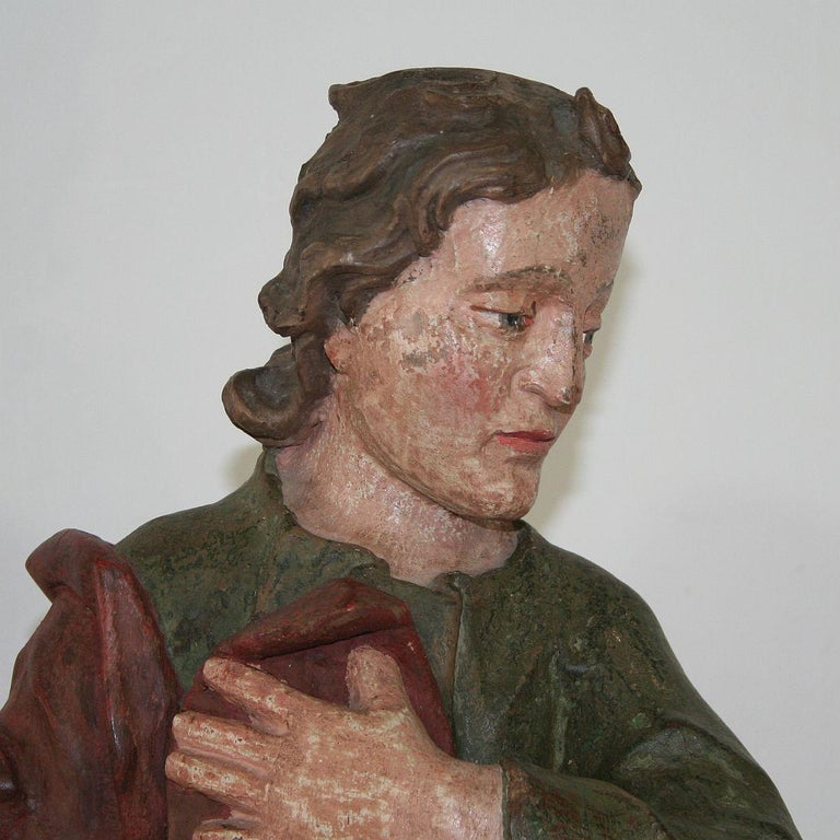18th Century Baroque Carved Wooden Saint Figure For Sale 6