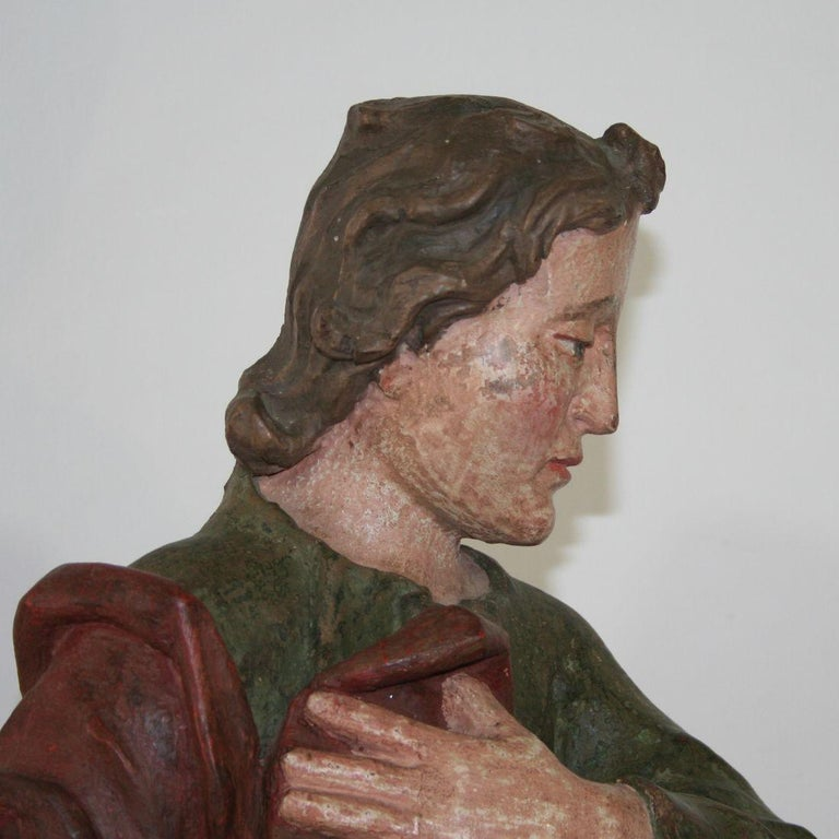 18th Century Baroque Carved Wooden Saint Figure For Sale 7