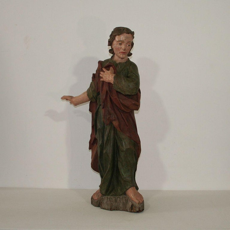 German 18th Century Baroque Carved Wooden Saint Figure For Sale