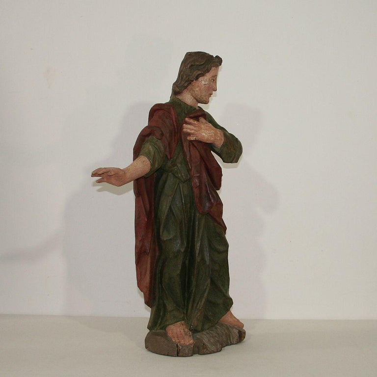 Hand-Carved 18th Century Baroque Carved Wooden Saint Figure For Sale