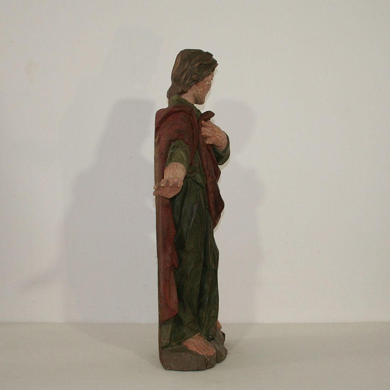 18th Century Baroque Carved Wooden Saint Figure In Fair Condition For Sale In Amsterdam, NL