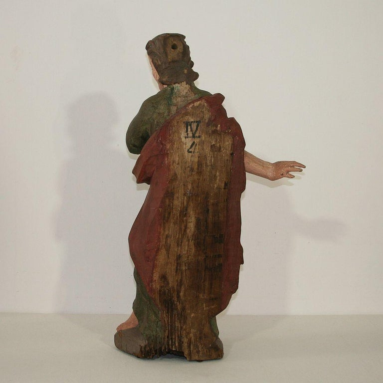18th Century and Earlier 18th Century Baroque Carved Wooden Saint Figure For Sale