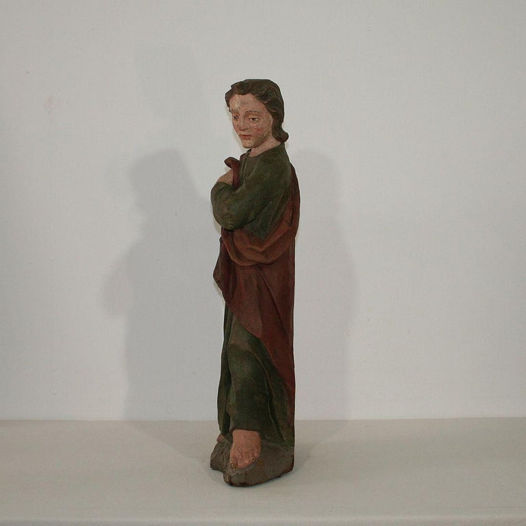 18th Century Baroque Carved Wooden Saint Figure For Sale 1