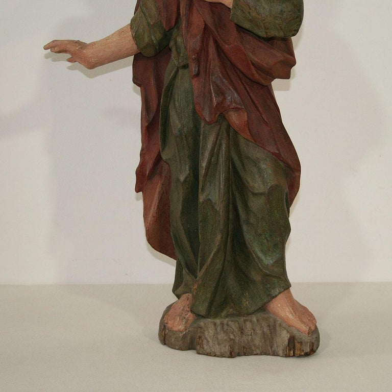 18th Century Baroque Carved Wooden Saint Figure For Sale 3