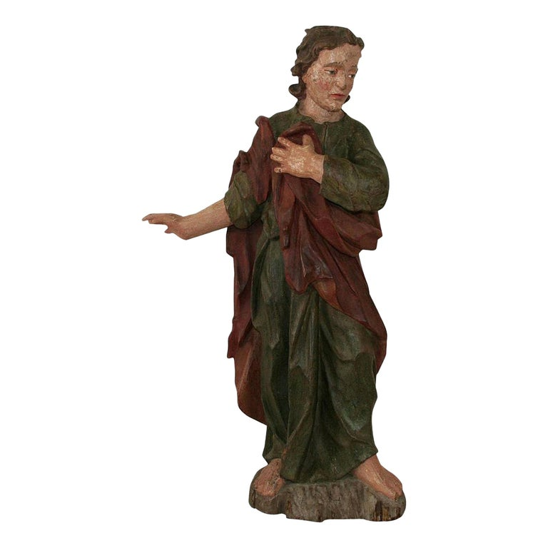 18th Century Baroque Carved Wooden Saint Figure For Sale