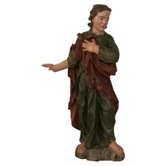 18th Century Baroque Carved Wooden Saint Figure