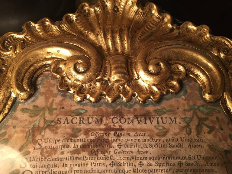 18th Century Baroque Ecclesiastical Carta Gloria, Venetian Museum Piece In Good Condition For Sale In Poughkeepsie, NY