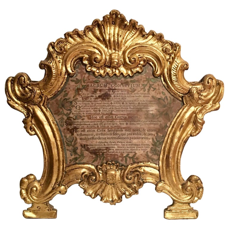18th Century Baroque Ecclesiastical Carta Gloria, Venetian Museum Piece For Sale