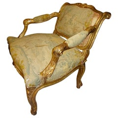 18th  Baroque French Armchair Carved and Gilded Wood , with Tapestry